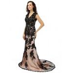Formal Evening Dress - Black Trumpet/Mermaid V-neck Court Train Lace Special Occasion Dresses