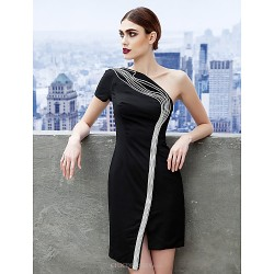 Cocktail Party Dress - Black Sheath/Column One Shoulder Short/Mini Jersey
