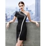 Cocktail Party Dress - Black Sheath/Column One Shoulder Short/Mini Jersey Special Occasion Dresses
