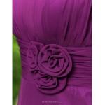 Knee-length Chiffon Bridesmaid Dress - Grape Plus Sizes / Petite A-line / Princess Jewel Special Occasion Dresses