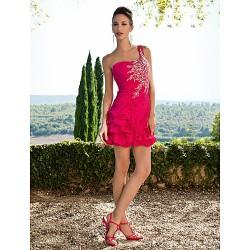 Sweet 16 Cocktail Party Dress Fuchsia Plus Sizes Petite Sheath Column One Shoulder Short Mini Chiffon