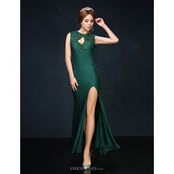 Cocktail Party Dress Dark Green Petite Trumpet Mermaid High Neck Ankle Length Lace Charmeuse