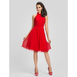 Cocktail Party Dress - Ruby Plus Sizes / Petite Sheath/Column High Neck Knee-length Chiffon