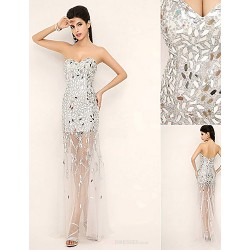 Formal Evening Dress - Silver Plus Sizes / Petite Sheath/Column Sweetheart Floor-length / Court Train