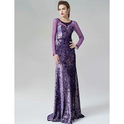 Formal Evening Dress Lilac A Line Scoop Sweep Brush Train Velvet
