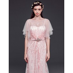 Formal Evening Dress Pearl Pink Sheath Column Bateau Floor Length Tulle