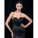 Cocktail Party / Wedding Party Dress - Black Plus Sizes / Petite Sheath/Column Sweetheart Knee-length Satin Special Occasion Dresses
