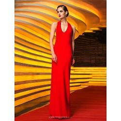 Military Ball / Formal Evening Dress - Ruby Plus Sizes / Petite Sheath/Column Halter Floor-length Jersey