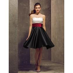 Knee Length Stretch Satin Bridesmaid Dress Multi Color Plus Sizes Petite A Line Strapless