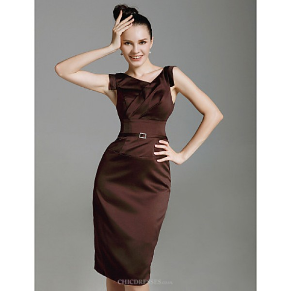 Cocktail Party / Wedding Party Dress - Chocolate Plus Sizes / Petite Sheath/Column V-neck Knee-length Stretch Satin Special Occasion Dresses