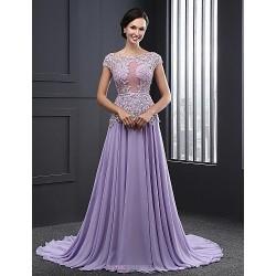 Formal Evening Dress - Lavender Ball Gown Jewel Sweep/Brush Train Chiffon