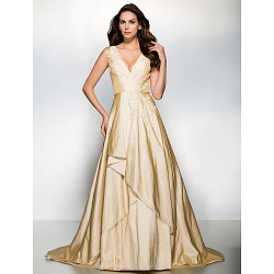 Formal Evening Dress - Champagne A-line V-neck Sweep/Brush Train Taffeta