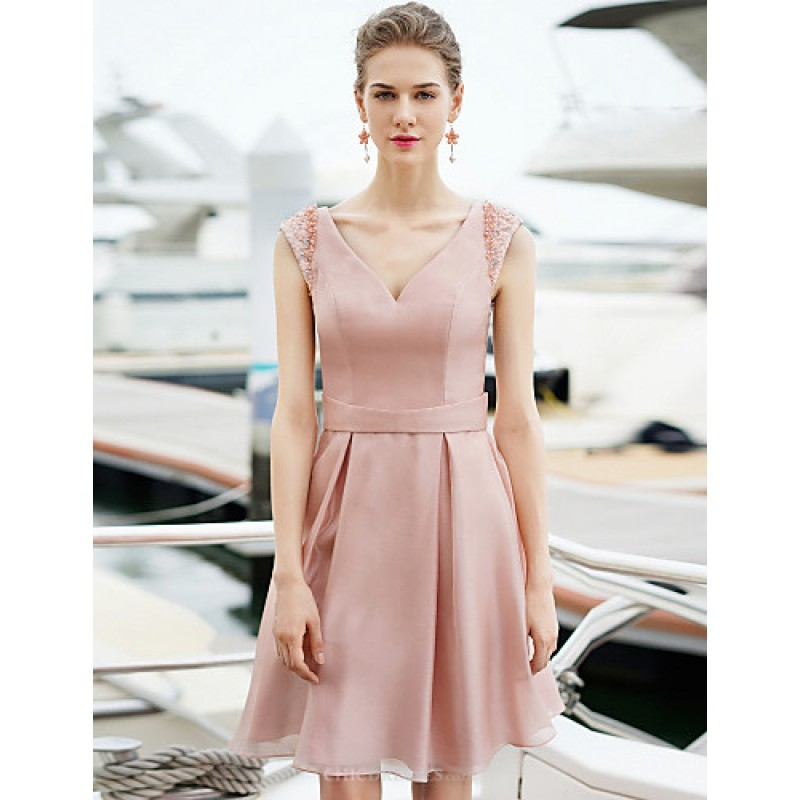 Cocktail Party Dress - Pearl Pink Plus Sizes Sheath/Column V-neck ...
