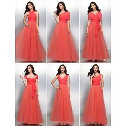Mix&Match Cocktail Party / Formal Evening Dress - Watermelon A-line V-neck Floor-length Chiffon / Tulle