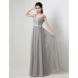 Formal Evening Dress Silver Plus Sizes Petite A Line Floor Length