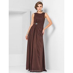 Formal Evening Military Ball Dress Chocolate Plus Sizes Petite Sheath Column Jewel Floor Length Chiffon