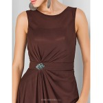 Formal Evening / Military Ball Dress - Chocolate Plus Sizes / Petite Sheath/Column Jewel Floor-length Chiffon Special Occasion Dresses
