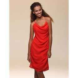 Cocktail Party Holiday Dress Ruby Plus Sizes Petite Sheath Column Cowl Spaghetti Straps Knee Length Chiffon