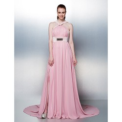Prom Formal Evening Holiday Dress Blushing Pink Plus Sizes Petite A Line Straps Chapel Train Chiffon
