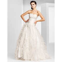 Prom / Military Ball / Formal Evening Dress - Ivory Plus Sizes / Petite A-line / Princess Strapless / Sweetheart Floor-length Organza