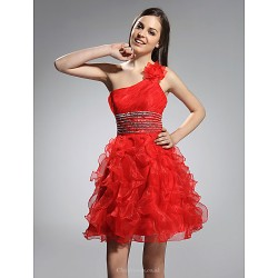 Cocktail Party / Prom / Holiday / Sweet 16 Dress - Ruby Plus Sizes / Petite A-line / Princess One Shoulder Short/Mini Organza