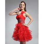 TS Couture Cocktail Party / Prom / Holiday / Sweet 16 Dress - Ruby Plus Sizes / Petite A-line / Princess One Shoulder Short/Mini Organza Special Occasion Dresses