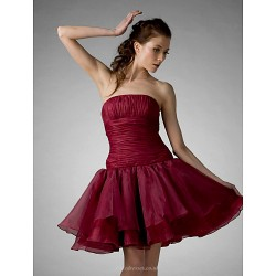 Cocktail Party Prom Holiday Sweet 16 Dress Burgundy Plus Sizes Petite Ball Gown A Line Princess Strapless Knee Length