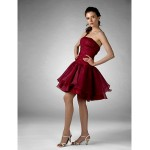 Cocktail Party / Prom / Holiday / Sweet 16 Dress - Burgundy Plus Sizes / Petite Ball Gown / A-line / Princess Strapless Knee-length Special Occasion Dresses