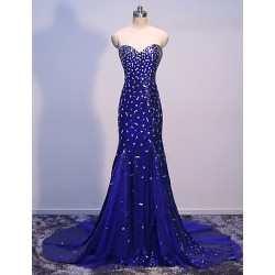 Formal Evening-Royal Blue Trumpet/Mermaid Sweetheart Floor Length Sweep Train Sequined/Tulle