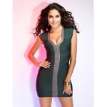 TS Couture Cocktail Party / Holiday Dress - Multi-color Petite Sheath/Column V-neck Short/Mini Rayon Special Occasion Dresses