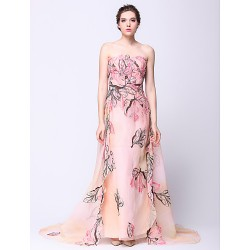 Formal Evening Dress Print Sheath Column Strapless Watteau Train Chiffon