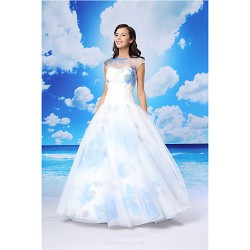 Ball Gown Formal Evening Dress White Floor Length Jewel Organza Satin