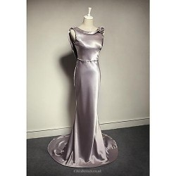 Formal Evening Dress Silver Plus Sizes Petite Trumpet Mermaid Cowl Floor Length Charmeuse