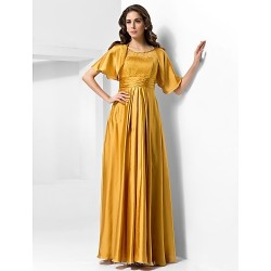 Military Ball / Formal Evening Dress - Gold Plus Sizes / Petite A-line / Princess Scoop Floor-length Stretch Satin