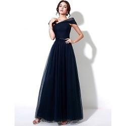 Formal Evening Dress - Dark Navy Plus Sizes / Petite A-line Off-the-shoulder Floor-length