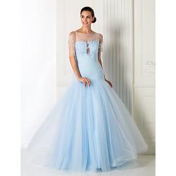 Formal Evening Prom Military Ball Dress Sky Blue Plus Sizes Petite A Line Princess Jewel Floor Length Tulle
