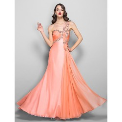 Formal Evening Prom Military Ball Dress Ruby Plus Sizes Petite A Line One Shoulder Floor Length Chiffon Stretch Satin