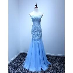 Evening Dress Blue Trumpet Mermaid Sweetheart Floor Length Tulle