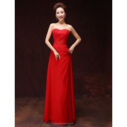 Formal Evening Dress Ruby A Line Sweetheart Floor Length Satin
