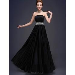 Floor-length Stretch Satin Bridesmaid Dress - Black A-line Strapless