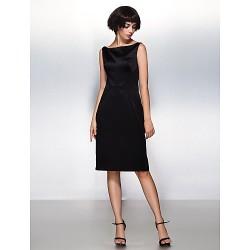 Cocktail Party Dress Black Sheath Column Bateau Knee Length Satin
