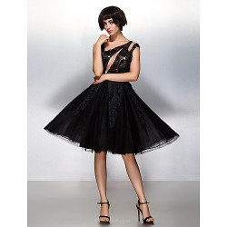 Cocktail Party Dress Black A Line Scoop Knee Length Lace Tulle