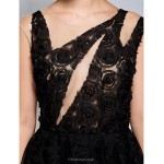 Cocktail Party Dress - Black A-line Scoop Knee-length Lace / Tulle Special Occasion Dresses