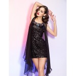 Cocktail Party / Homecoming / Holiday Dress - Black Plus Sizes / Petite Sheath/Column Scoop Short/Mini Sequined / Chiffon Special Occasion Dresses