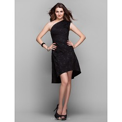 Cocktail Party Holiday Prom Dress Black Plus Sizes Petite A Line One Shoulder Asymmetrical Satin