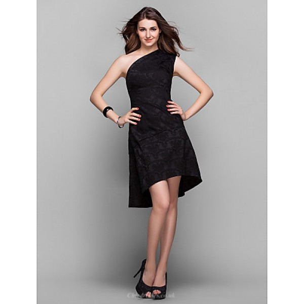 TS Couture Cocktail Party / Holiday / Prom Dress - Black Plus Sizes / Petite A-line One Shoulder Asymmetrical Satin Special Occasion Dresses