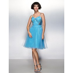 Cocktail Party Dress Pool A Line Spaghetti Straps Knee Length Tulle