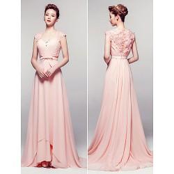 Formal Evening Dress Pearl Pink Sheath Column V Neck Floor Length Chiffon