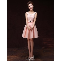 Cocktail Party Dress Pearl Pink A Line Bateau Knee Length Satin
