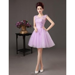 Cocktail Party Dress Lavender Plus Sizes A Line Bateau Knee Length Satin